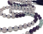 Rose Quartz Mala, Amethyst Mala, Chalcedony Mala, Prayer Beads