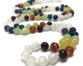 Rainbow Chakra Mala Beads Necklace, Selenite Mala Beads, Garnet, Carnelian, Golden Opal, Green Onyx, Apatite, Amethyst, Snowy Quartz, Yoga