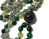 Labradorite Mala Beads, Green Tourmaline, Green Garnet, Malachite Prayer Beads, Japa Kundalini Yoga Meditation