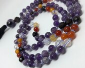 Amethyst, Carnelian, Garnet, Quartz Mala Beads, Purple and Orange Prayer Beads, Yoga, Meditation, Tassel Necklace