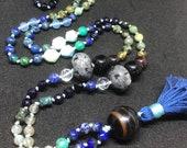 Gemstone Mala Beads, Bohemian Chic Tassel Necklace, Blue Mala, Yoga and Meditation