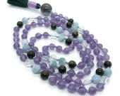 Amethyst and Aquamarine Mala Beads with Green Tourmaline   Yoga Jewelry   Meditation Beads for Japa and Prayer   Gemstone Mala Necklace