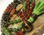 Tiger Eye, Jade, Carnelian, Smoky Quartz, Bronzite Mala Beads, Meditation, Yoga Necklace