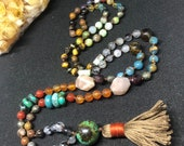 Yoga Mala, Gemstone Necklace, Beaded Boho Tassel Necklace