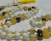 Agate Mala, Rutilated Quartz Mala, Pyrite Mala, Tridacna Shell Mala, Gold Mala, Yellow Mala, Prayer Beads, Japa Mala