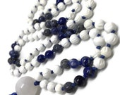 Tridacna shell mala, Lapis Lazuli Mala, Blue Coral Mala, Sodalite Mala, Snow Quartz, Mala Beads, Prayer Beads, Gemstone Mala, Yoga Necklace