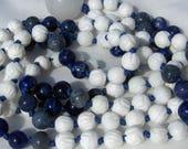 Tridacna shell mala, Lapis Lazuli Mala, Blue Coral Mala, Sodalite Mala, Snow Quartz, Mala Beads, Prayer Beads, Gemstone Mala, Yoga Necklace