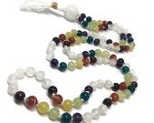 Selenite Mala | Rainbow Chakra Mala Bead Necklace, Gemstone Mala Beads, Garnet, Carnelian, Golden Opal, Green Onyx, Apatite, Amethyst | Yoga