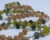 Moonstone mala, Quartz, Labradorite, Green Garnet, Golden Opal, prayer beads, yoga mala, mala beads, meditation beads