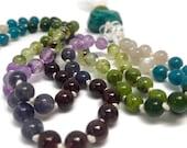 Iolite Mala Bead Necklace, Garnet, Amethyst, Jade, Prehnite, Moonstone, Apatite, Japa, Prayer Beads, Yoga, Meditation, Gift, Gemstones,