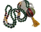 Venetian Mala / Green Mala / Malachite Mala / Murano Glass / Mala Beads / Yoga and Meditation / Italy / Italian Glass Mala / Carnelian Mala
