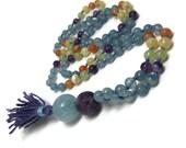 Blue Calcite Mala Beads Necklace, Golden Opal Mala Necklace, Green Onxy Mala Necklace, Purple Amethyst Mala Necklace, Japa, Yoga, Kundalini
