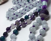 Aquamarine Mala with Apatite, Amethyst, and Iolite, Prayer Beads, Yoga Mala