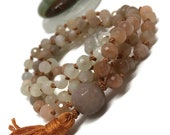 Moonstone Mala, Peach Moonstone Mala, Mala Beads, Japa, Kundalini, Meditation Yoga Tassel Necklace Boho