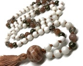 Sunstone Mala, Rutilated Quartz Mala, Moonstone Mala, Pyrite Mala, Tridacna Shell Mala, Peach Mala, Orange Mala, White Mala, Prayer Beads