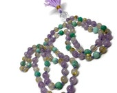Amazonite Mala Beads | Mala Necklace | Amazonite Necklace | Gemstone Mala Beads | 108 Mala | Amethyst Mala Beads Necklace | Rutilated Quartz