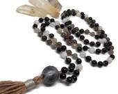 Obsidian Mala Necklace, Smoky Quartz Meditation Beads, Moonstone Japa Mala, Kundalini Yoga, Dragon's Eye, Red Tiger Eye Prayer Beads