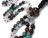 Selenite Mala Beads Necklace | Natural Turquoise Mala Necklace | Garnet Mala | Tigers Eye Mala | Yoga Jewelry | Kundalini Meditation Beads