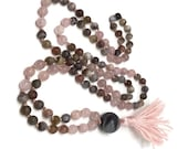 Grief Mala, Botswana Agate, Rose Quartz, Mala Bead Necklace, Japa Mala, Yoga Meditation Gift Valentines Mothers Day Pink Mala
