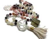 Sweet Summer Mala Beads with Quartz Crystal, Iolite, Rutilated Quartz, Moonstone, Pink Opal, Sunstone, Lepidolite Kundalini Meditation