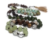 Earth Tone Mala Bead Necklace | Quartz | Mongolian Opal | Petrified Wood | Jade | Green Onyx | Hessonite Garnet | Pietersite | Gold Tassel