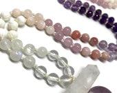 Love Mala / Rose Quartz Mala / Amethyst Mala / Sober / Sobriety / Purple Mala / Pink Mala / Heart Chakra / Quartz Crystal / Rainbow