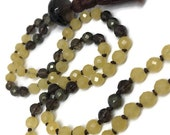 Smoky Quartz Mala, Yellow Agate Mala, Pyrite Mala, Brown Mala, Yellow Mala, Chakra Mala, Prayer Beads, Japa Mala, Gold Mala