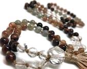 Sunstone and Labradorite Mala Beads Necklace for Meditation, Red Tiger Eye and Quartz Yoga Prayer Beads, Japa Mala, Kundalini, Boho, 108