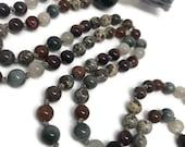 Jasper Mala Necklace for Man or Woman, Moonstone, Garnet, Orbicular Jasper, Hessonite Garnet, Eagle Eye, Gray Tigers Eye, Red Tigers Eye