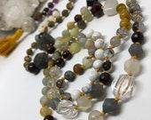 Gemstone Mala, Moonstone Mala, Amethyst, Garnet, Labradorite, Aquamarine, Yoga Necklace, Tassel, Boho