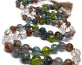 Quartz, Sunstone, Iolite, Kyanite, Peridot Mala Beads, Yoga Necklace, Boho Tassel Kundalini Japa Meditation