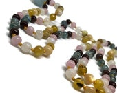 Kyanite Mala, Garnet, Rose Quartz, Rainbow Moonstone, Golden Opal, Mother of Pearl Prayer Beads, Aquamarine, Yoga Necklace, Meditation Beads