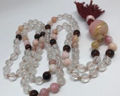 Pink Mala, Peruvian Opal, Red Tiger Eye, Dragon Eye, Quartz Mala Beads, Crystal Prayer Beads