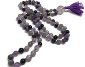 108 Meditation Beads Necklace | Amethyst Mala | Moonstone Mala | Purple Mala Necklace | Eagle Eye | Labradorite | Blue Goldstone | Garnet