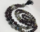 Garnet, labradorite, tiger eye, pyrite, tourmalinated quartz mala beads, yoga necklace, meditation beads, prayer beads,  January birthstone