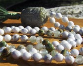 Howlite Mala, Buddha, Phantom Quartz, Mala Beads, Rhyolite, Rainforest Jasper, White Mala, Green Mala, Yoga, Meditation