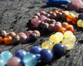Yoga Mala, Meditation Beads, Rhodonite, Ruby, Carnelian, Blue Calcite, Yellow Agate, Rutilated Quartz, Sodalite, Kunzite