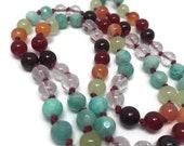 Rainbow Mala Beads, Garnet, Amazonite Mala Beads Necklace, Carnelian, Green Onyx, Selenite, Quartz, Kundalini Yoga, Meditation Beads, Japa