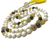 Agate Mala, Rutilated Quartz Mala, Pyrite Mala, Tridacna Shell Mala, Gold Mala, Yellow Mala, Prayer Beads, Japa Mala