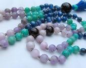 Garnet Mala, Amethyst Mala, Amazonite Mala, Kyanite Mala, Kunzite Mala, Pink, Purple, Blue, Green, Red, Mala Beads, Prayer Beads, Yoga Mala