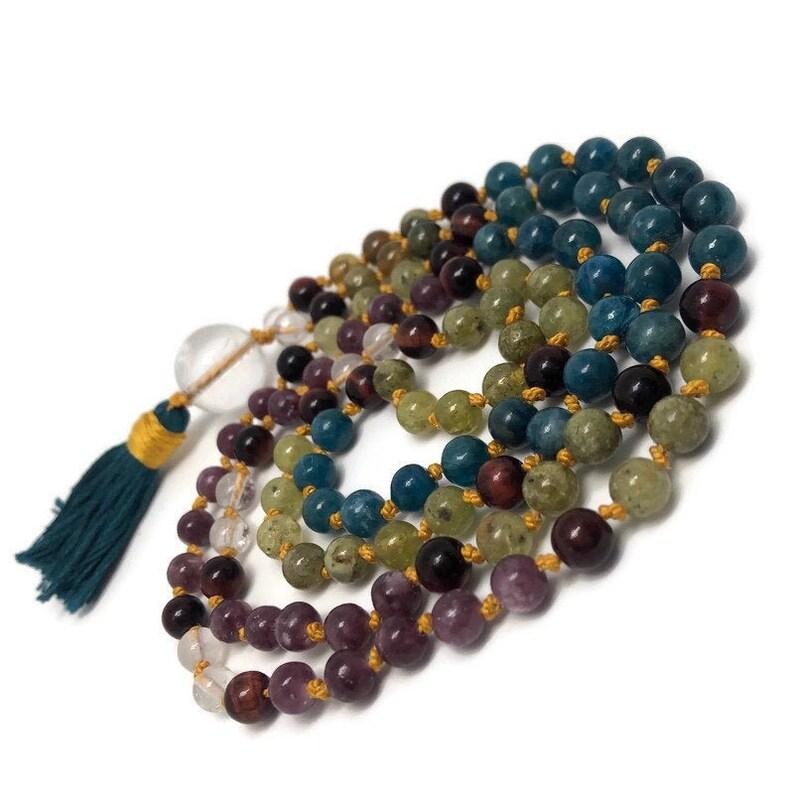 Lepidolite Mala Beads Necklace Green Garnet Red Tigers Eye image 0
