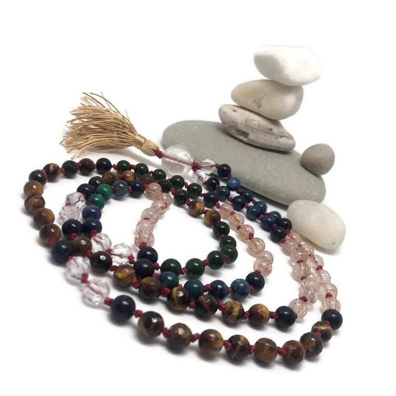 Gemstone Mala Beads Necklace  Golden Tigers Eye  Jade  Blue image 0