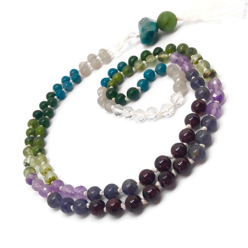 Rainbow of Natural Gemstones Mala Beads Necklace for Yoga and image 0