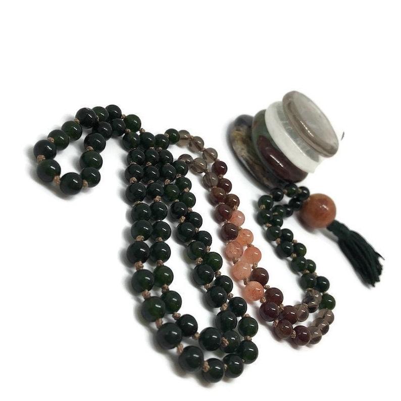 Jade Mala Beads  Sunstone Mala Beads  Smoky Quartz Mala image 0