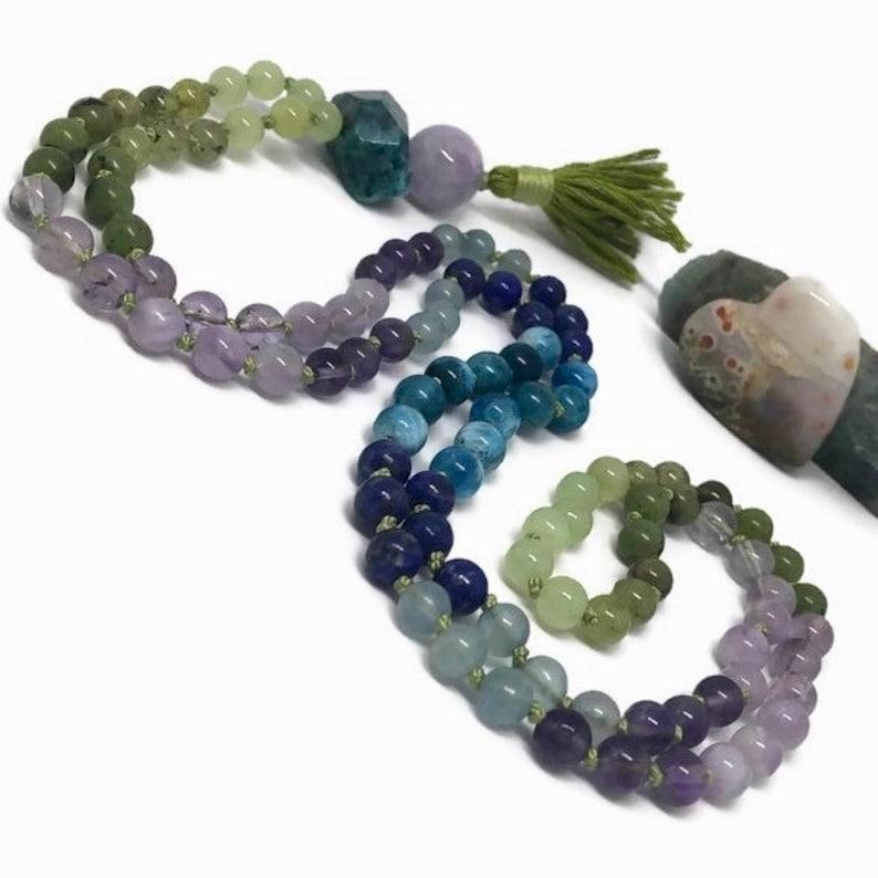 Amethyst Mala Necklace / Apatite Mala / Lapis Lazuli Mala / image 0