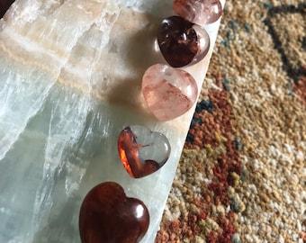 Fire Quartz Crystal Mini Heart 14-16mm   Quartz Crystal Heart with Hematite   Hematoid Quartz Heart