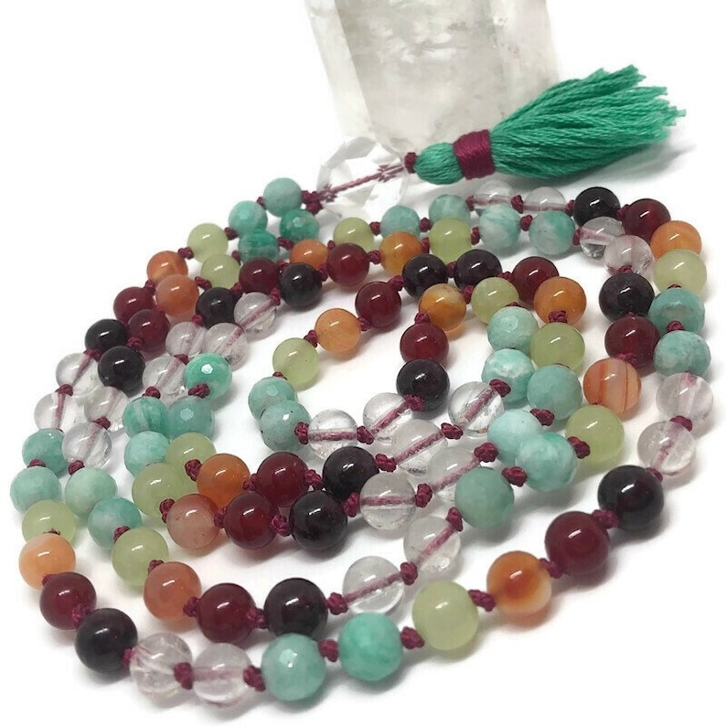 Amazonite Mala Beads Necklace Rainbow Mala Beads Garnet image 0