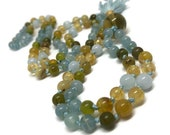 Golden Opal and Blue Calcite Mala Bead Necklace with Citrine and Aquamarine / Lemon Quartz Mala Beads / Japa / Yoga / Meditation
