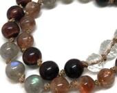 108 Sunstone and Labradorite Mala Beads Necklace for Meditation, Red Tiger Eye and Quartz Yoga Prayer Beads, Japa Mala, Kundalini, Boho