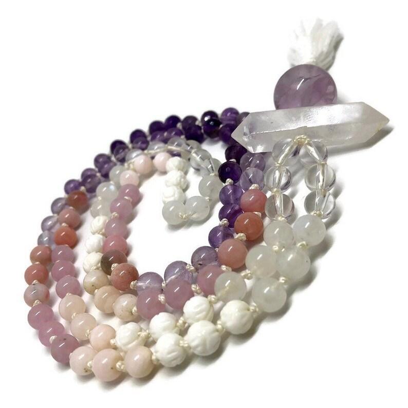 Love Mala / Rose Quartz Mala / Amethyst Mala / Purple Mala / image 0
